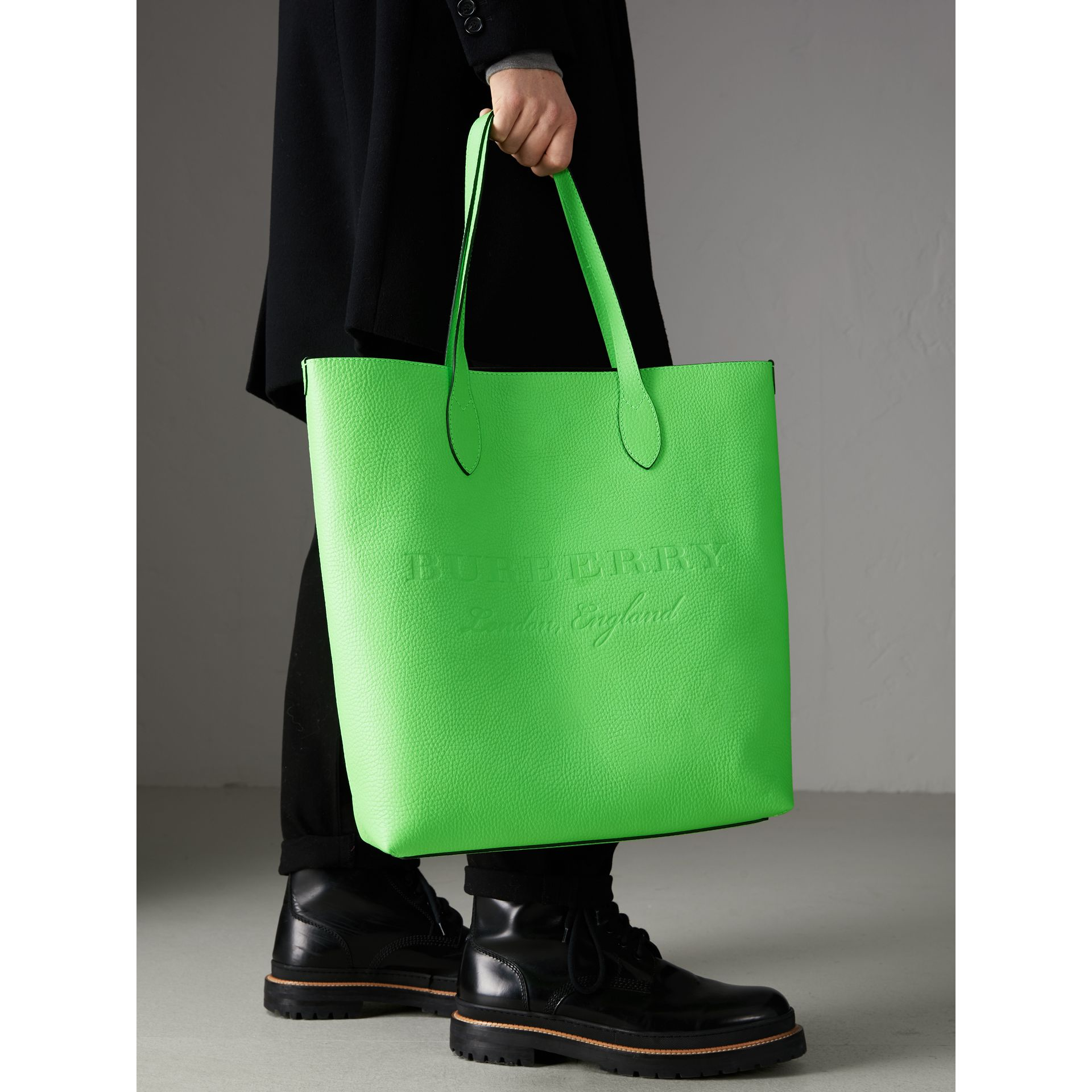 Embossed Leather Tote in Neon Green | Burberry Australia - gallery image 6