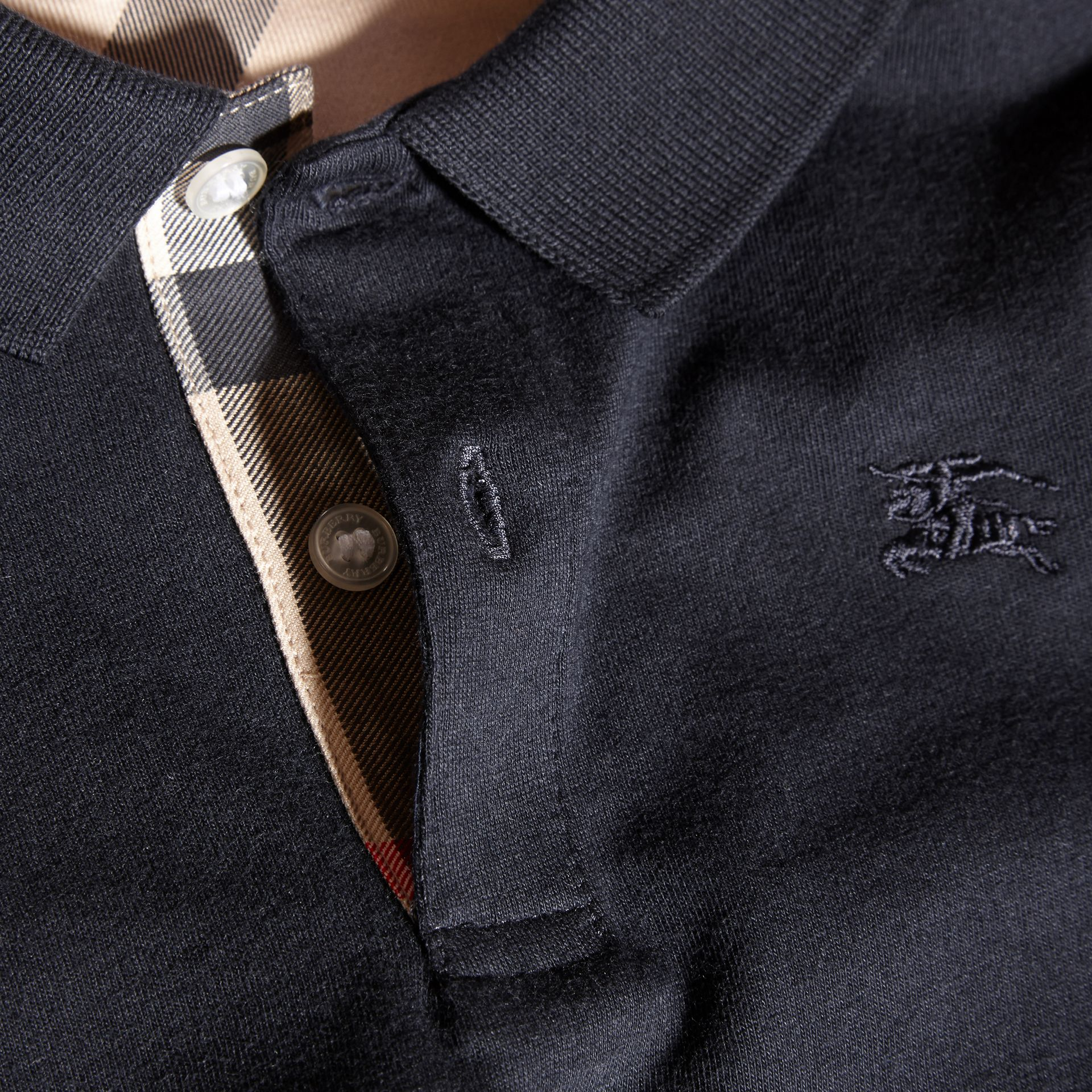 True navy Long-sleeved Cotton Polo Shirt True Navy - gallery image 2