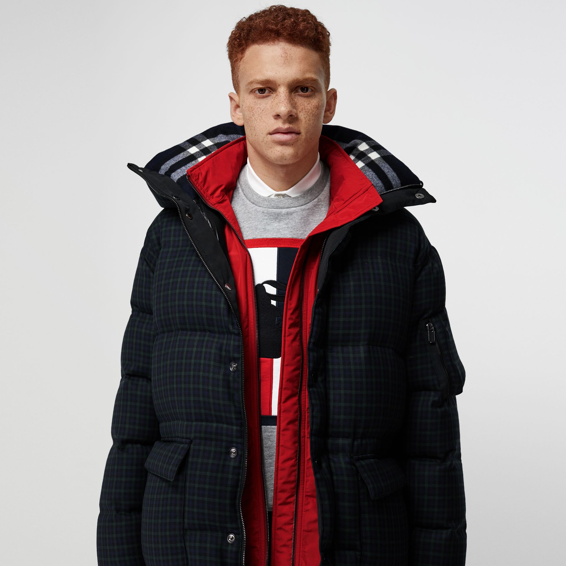 Check Wool Down-filled Hooded Jacket in Navy - Men | Burberry Australia - gallery image 1