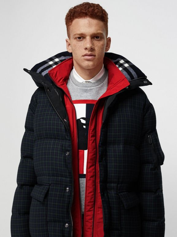 Check Wool Down-filled Hooded Jacket in Navy - Men | Burberry - cell image 1