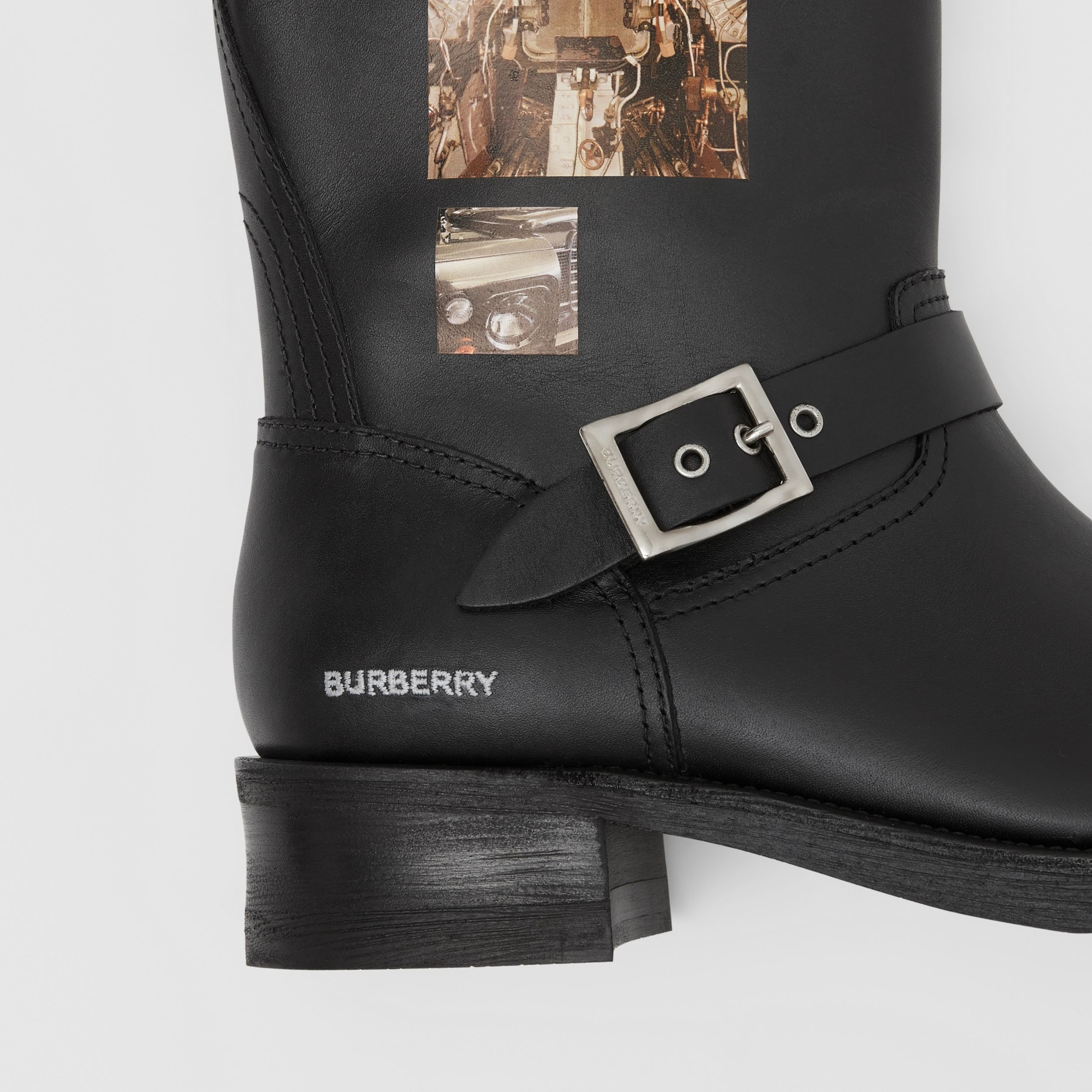 Montage Print Leather Biker Boots in Black - Men | Burberry Singapore - 2
