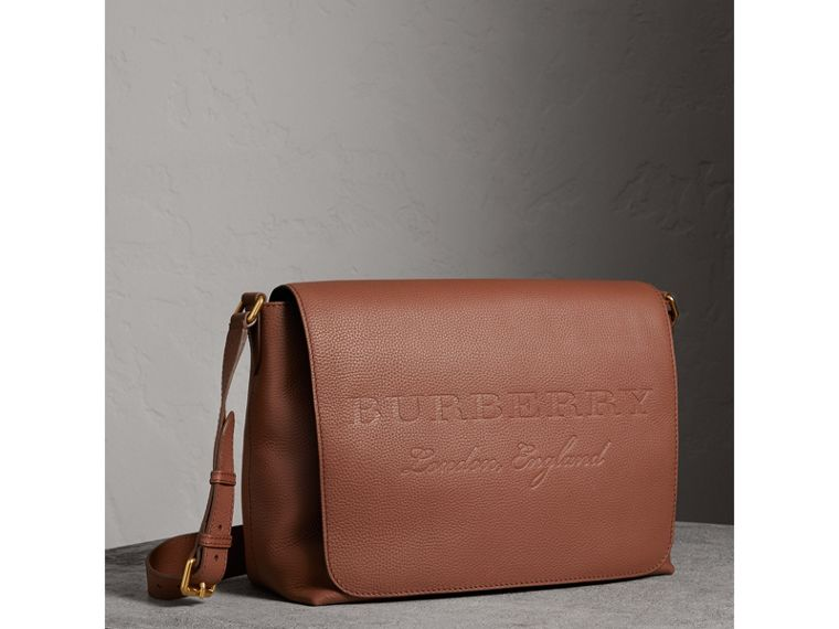 Large Embossed Leather Messenger Bag in Chestnut Brown | Burberry Singapore - cell image 4