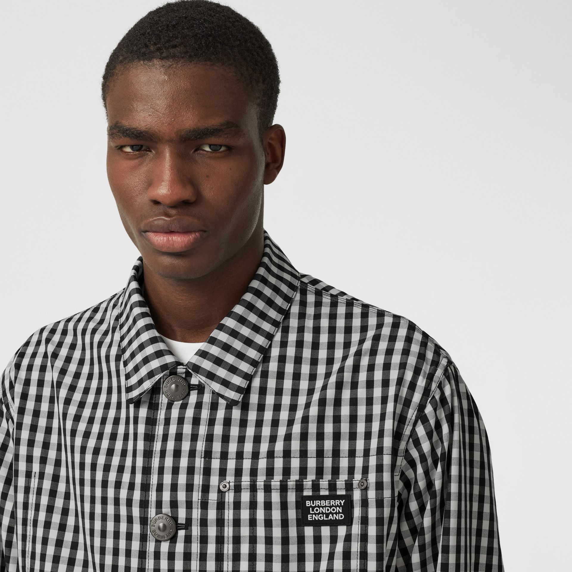 Pocket Detail Gingham Technical Wool Jacket in Black - Men | Burberry Hong Kong S.A.R - gallery image 1