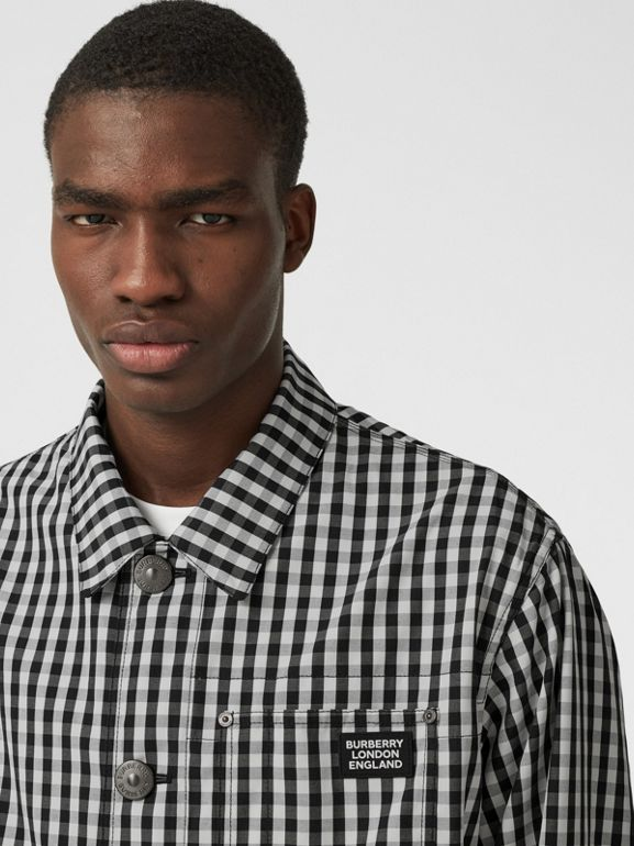 Pocket Detail Gingham Technical Wool Jacket in Black - Men | Burberry - cell image 1