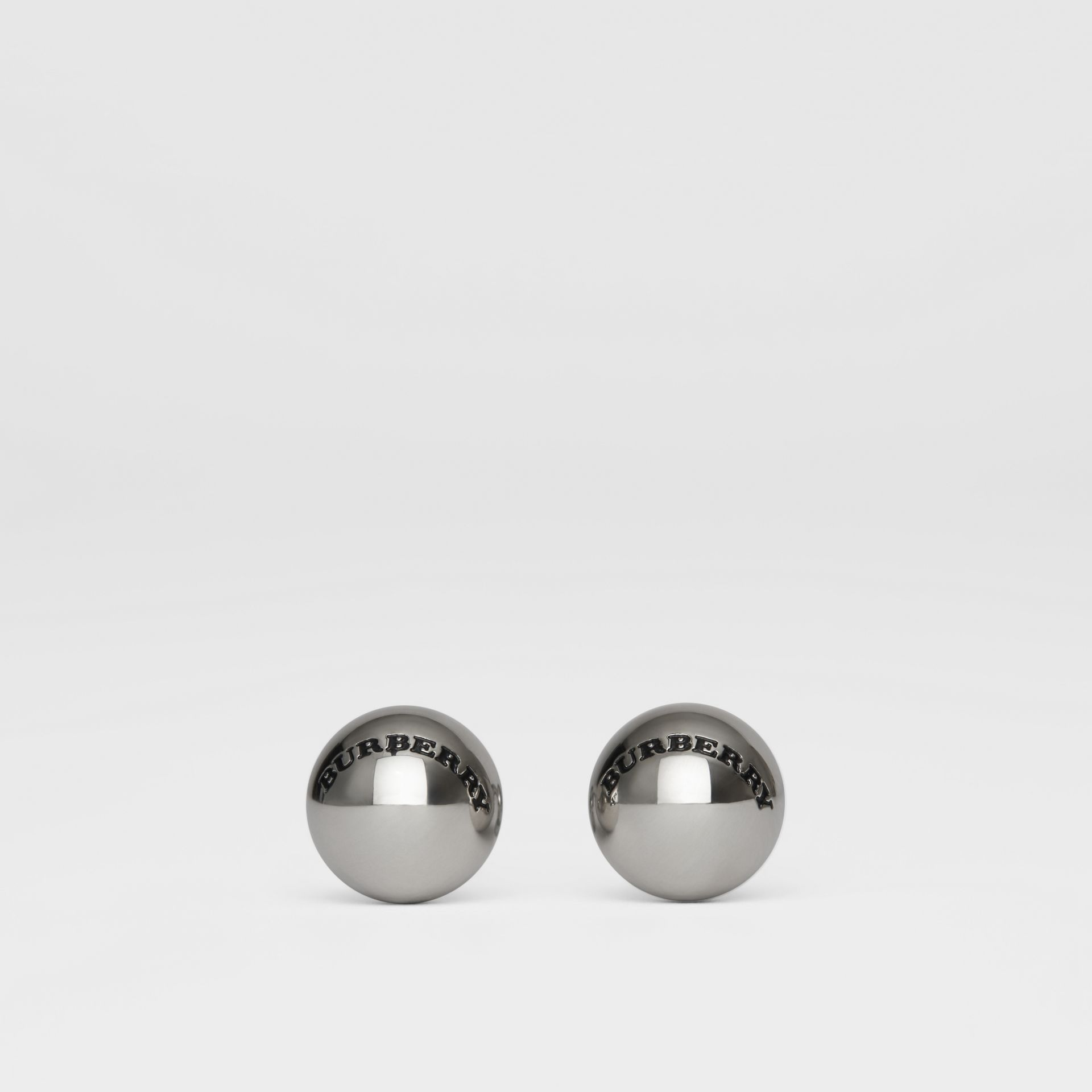 Engraved Brass Sphere Cufflinks in Silver - Men | Burberry United Kingdom - gallery image 0