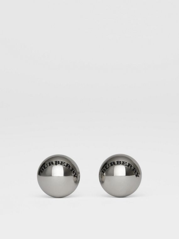 Engraved Brass Sphere Cufflinks in Silver
