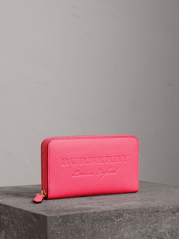 Embossed Leather Ziparound Wallet in Bright Pink
