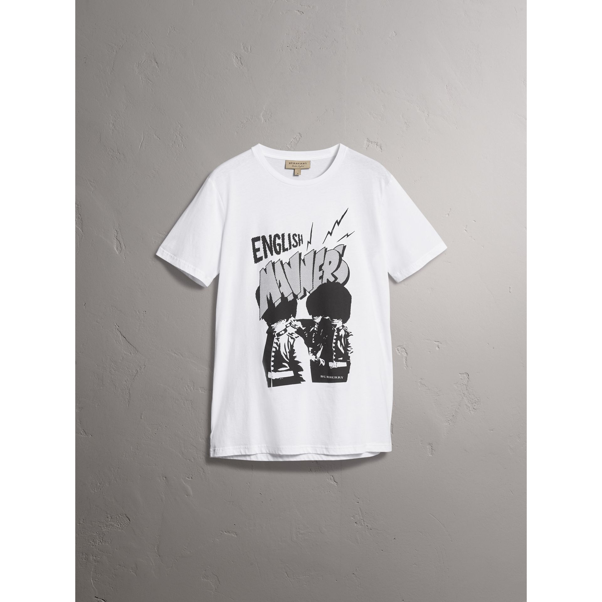London Icons Print Cotton T-shirt in White - Men | Burberry United States - gallery image 3