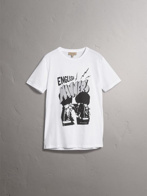 London Icons Print Cotton T-shirt in White - Men | Burberry - cell image 3