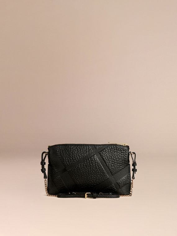 Black Check-embossed Leather Clutch Bag Black - cell image 3
