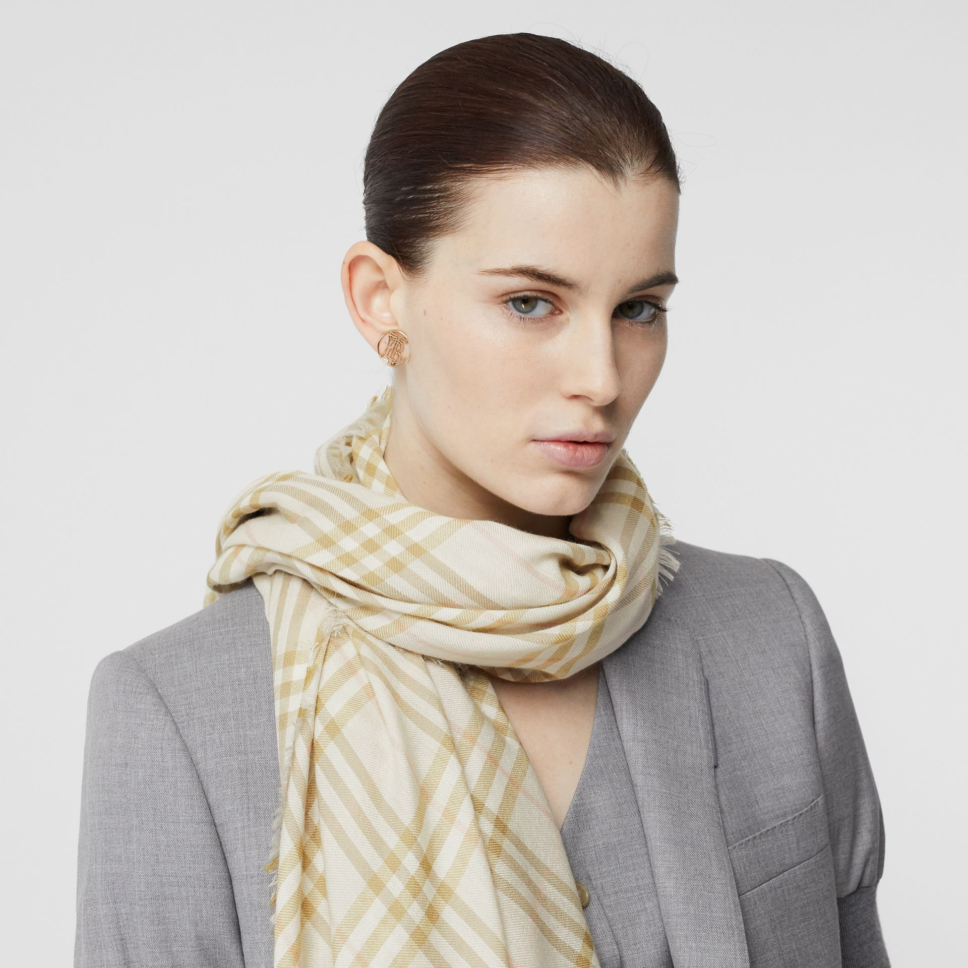 Embroidered Vintage Check Lightweight Cashmere Scarf in Pale Sage | Burberry Singapore - gallery image 2