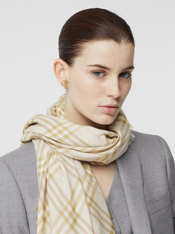 Embroidered Vintage Check Lightweight Cashmere Scarf in Pale Sage | Burberry - cell image 2