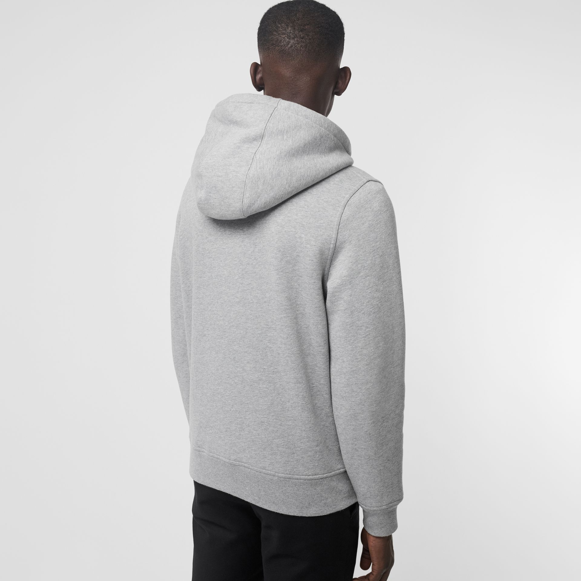 Check Detail Jersey Hooded Top in Pale Grey Melange - Men | Burberry - gallery image 2