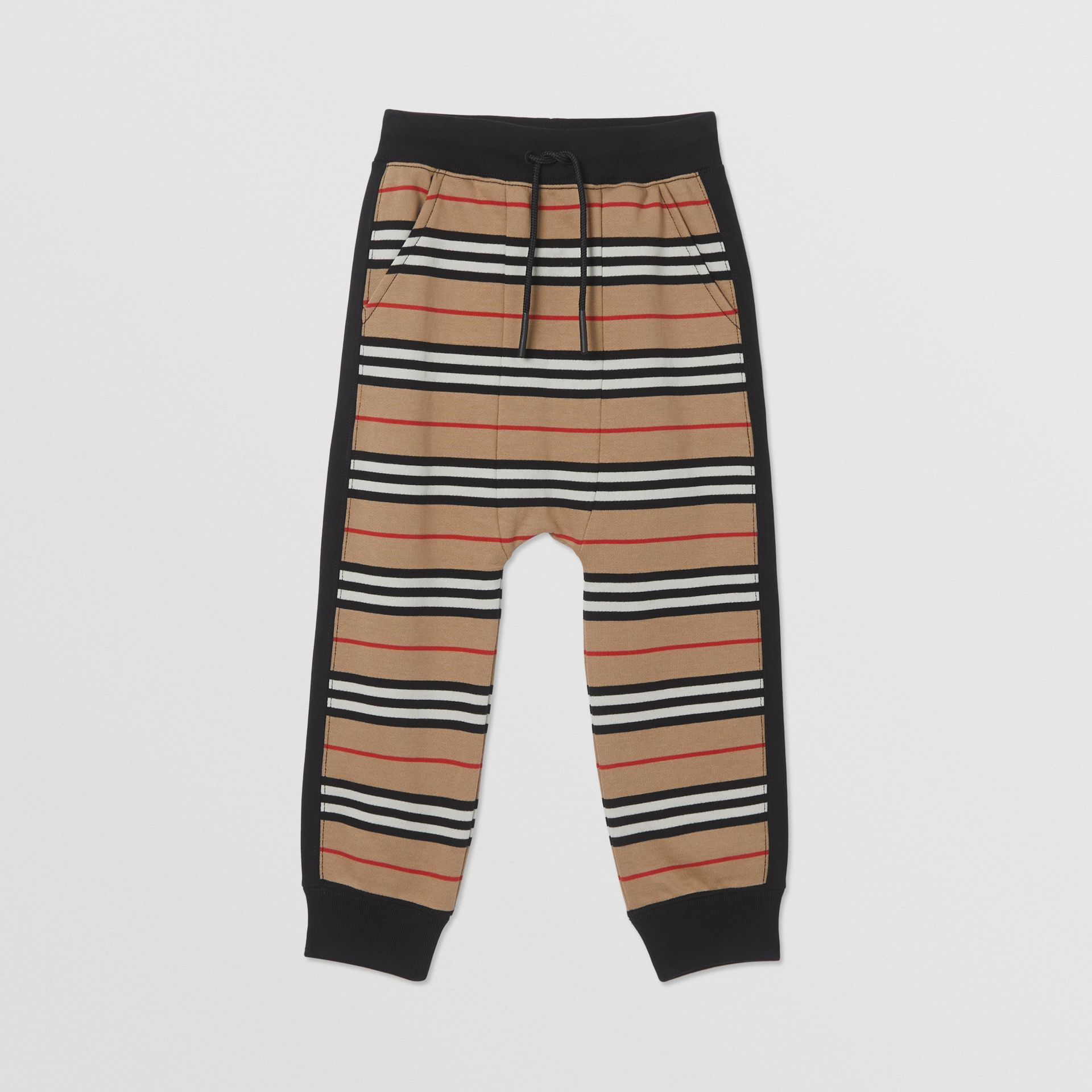 Icon Stripe Cotton Trackpants in Archive Beige | Burberry - gallery image 0
