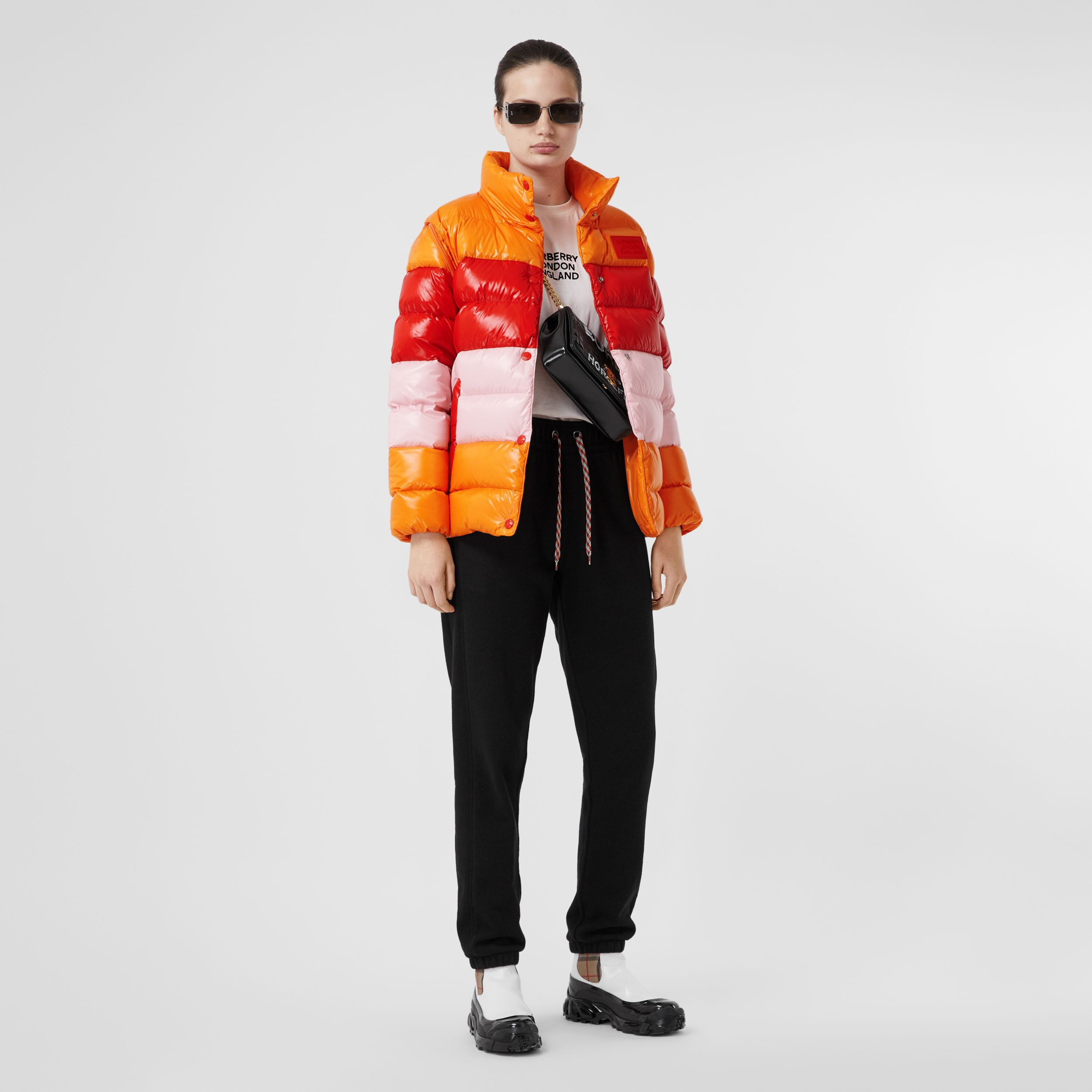 Panelled Nylon Puffer Jacket with Detachable Sleeves in Bright Red - Women | Burberry - 1