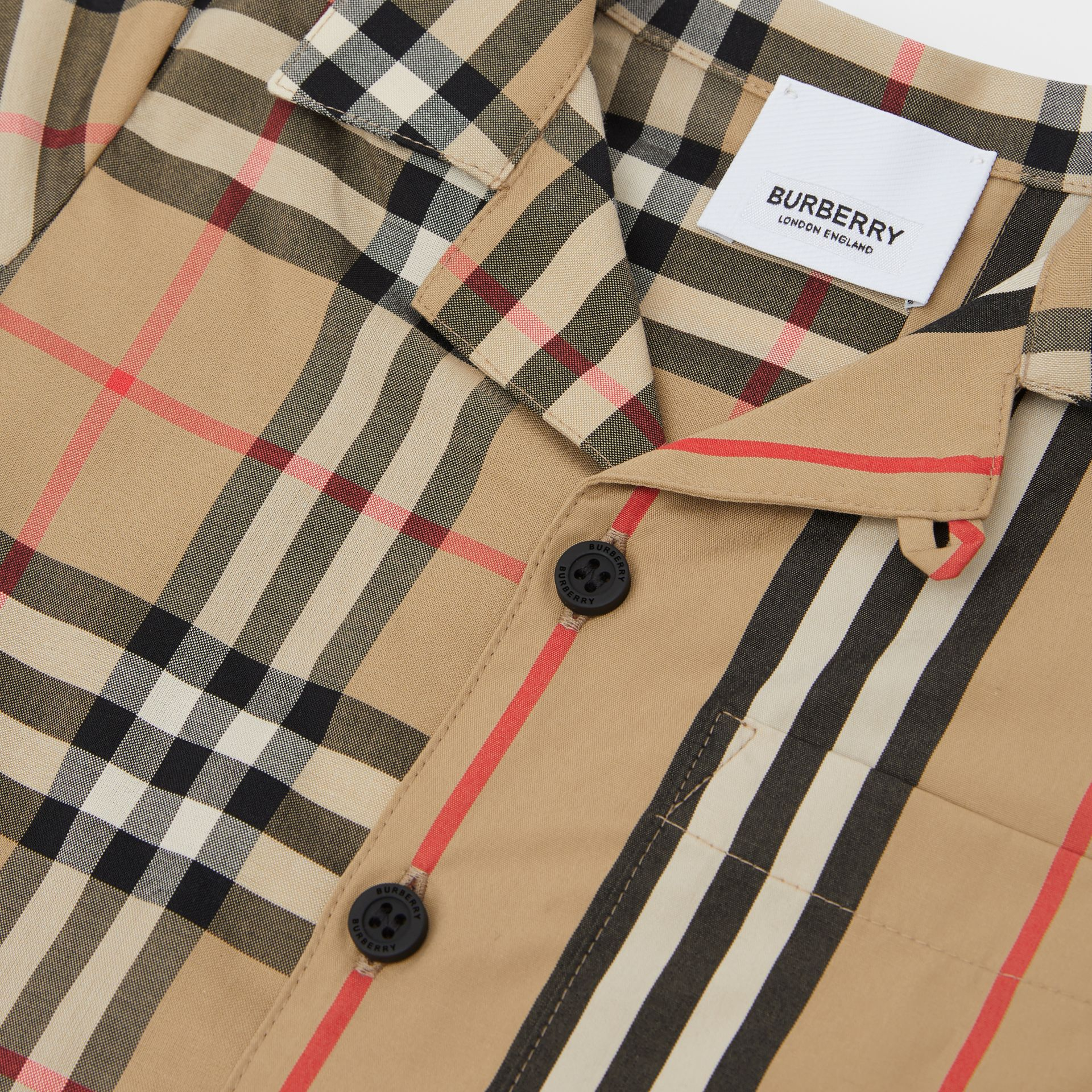 Short-sleeve Vintage Check and Icon Stripe Cotton Shirt in Archive Beige - Children | Burberry United States - gallery image 1
