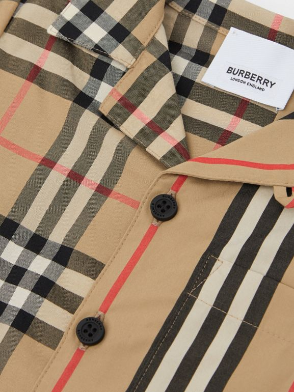 Short-sleeve Vintage Check and Icon Stripe Cotton Shirt in Archive Beige - Children | Burberry United States - cell image 1