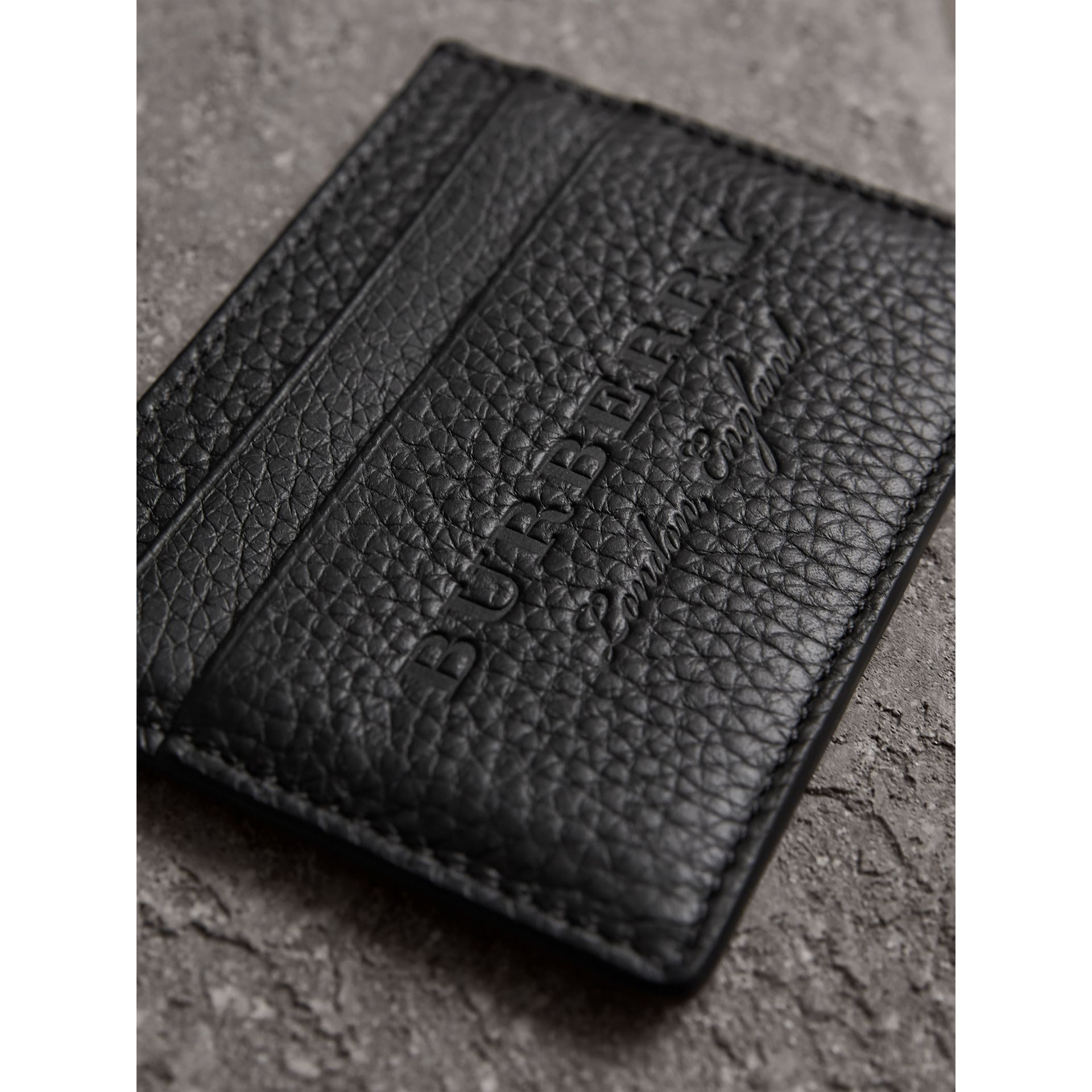Embossed Textured Leather Card Case in Black - Women | Burberry - gallery image 2