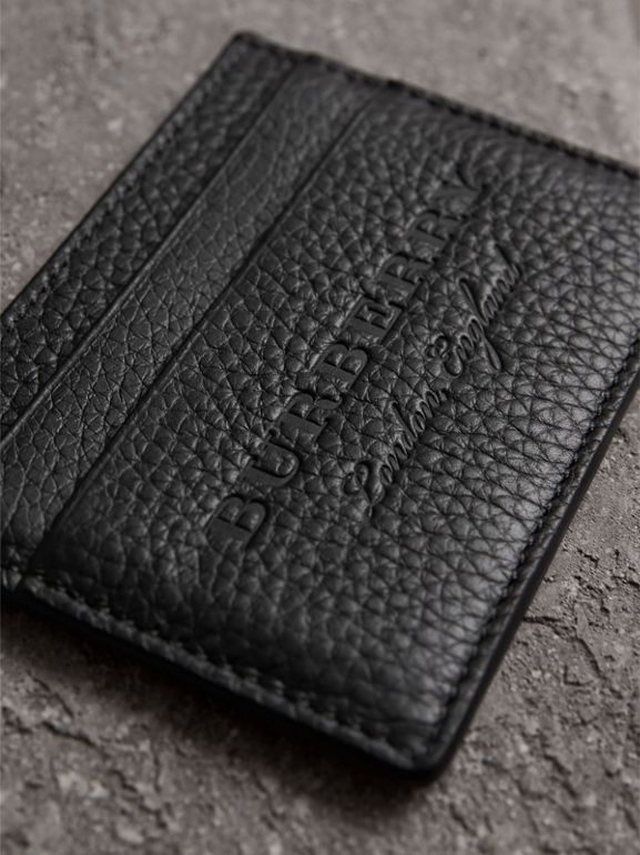 Embossed Textured Leather Card Case in Black | Burberry - cell image 1