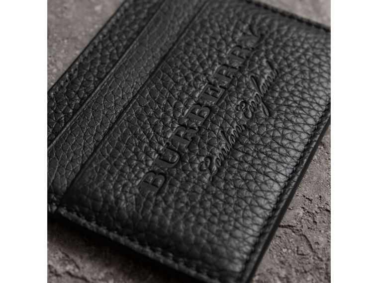 Embossed Textured Leather Card Case in Black - Women | Burberry United Kingdom - cell image 1