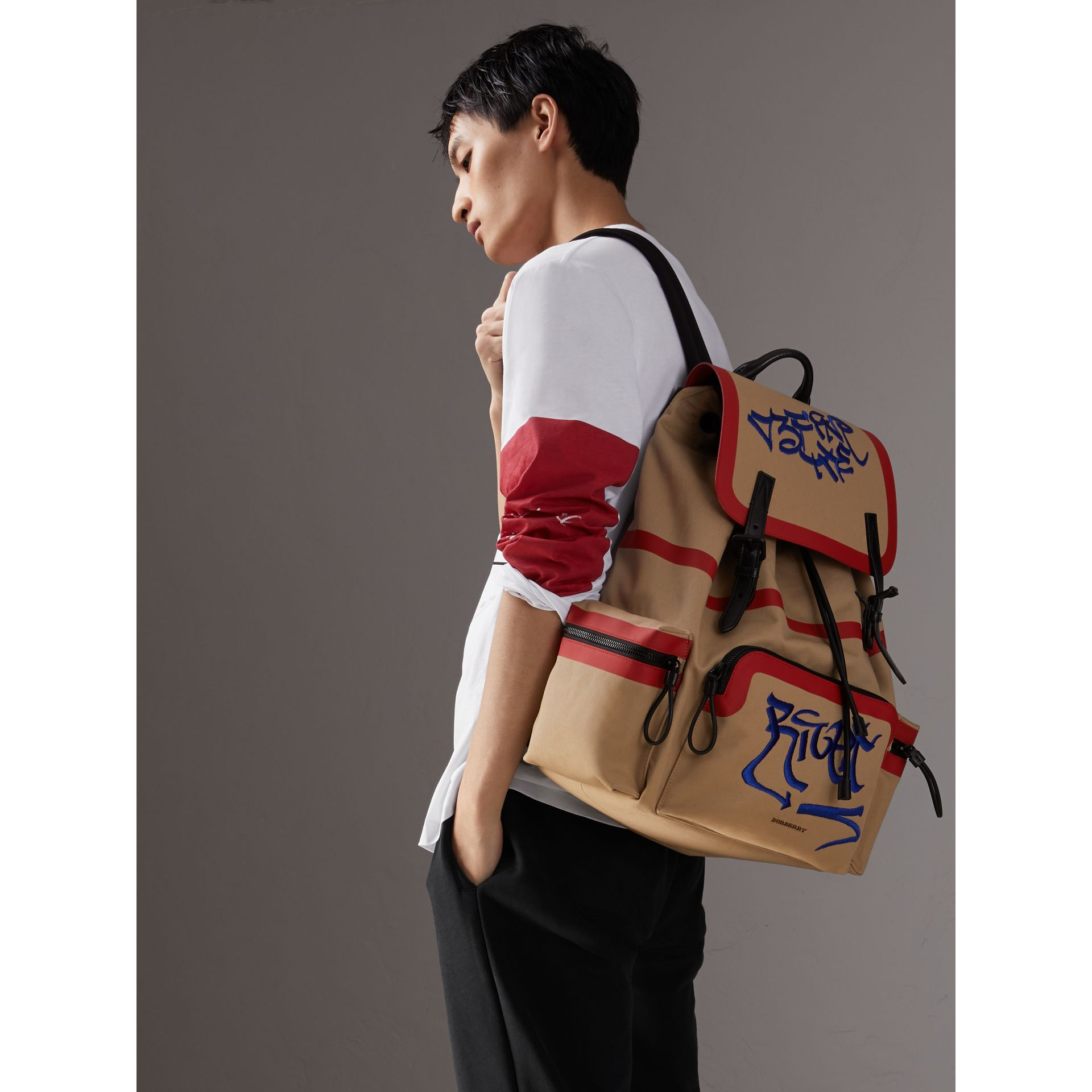 Burberry x Kris Wu The Extra Large Rucksack in Honey - Men | Burberry Australia - gallery image 3