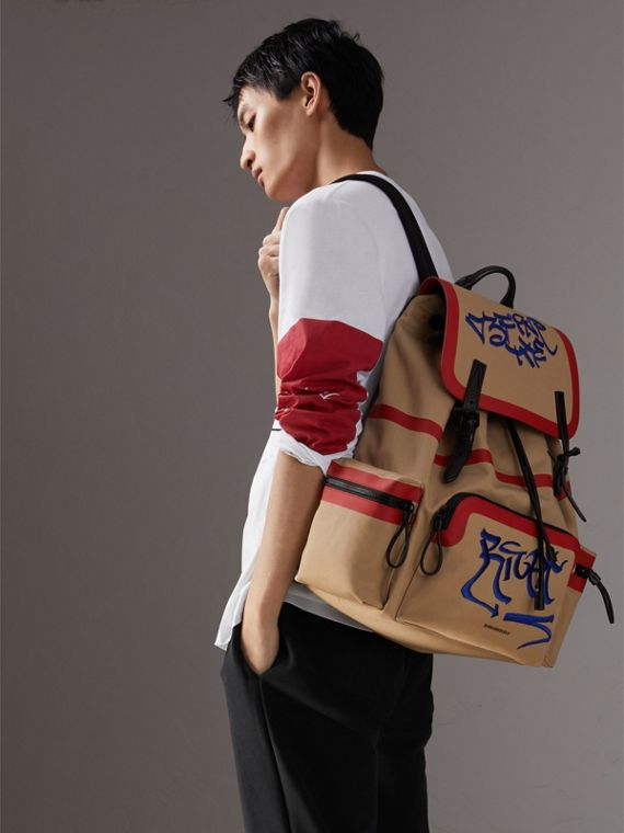 Burberry x Kris Wu The Extra Large Rucksack in Honey - Men | Burberry Australia - cell image 3