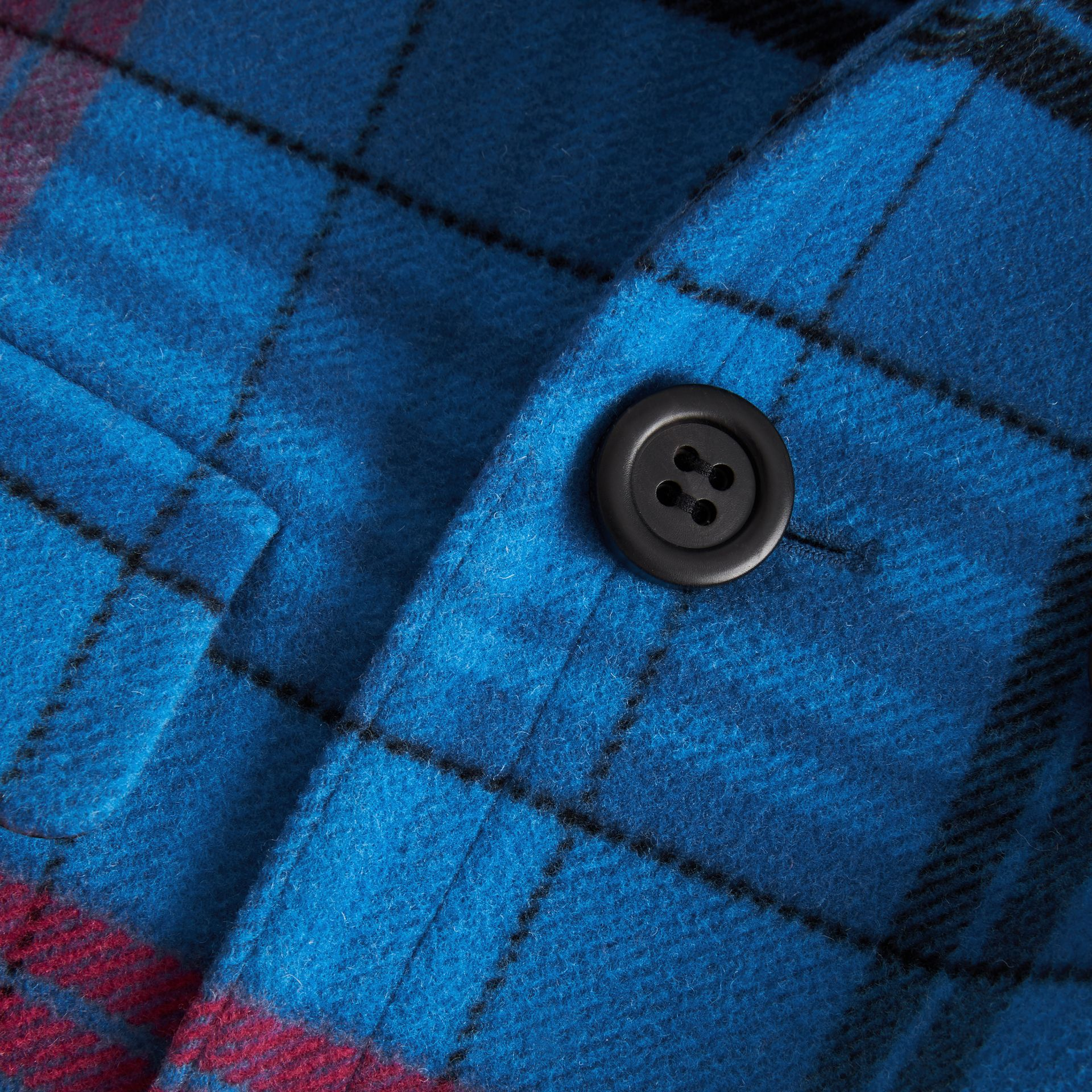 Check Wool Tailored Coat in Mineral Blue | Burberry - gallery image 1
