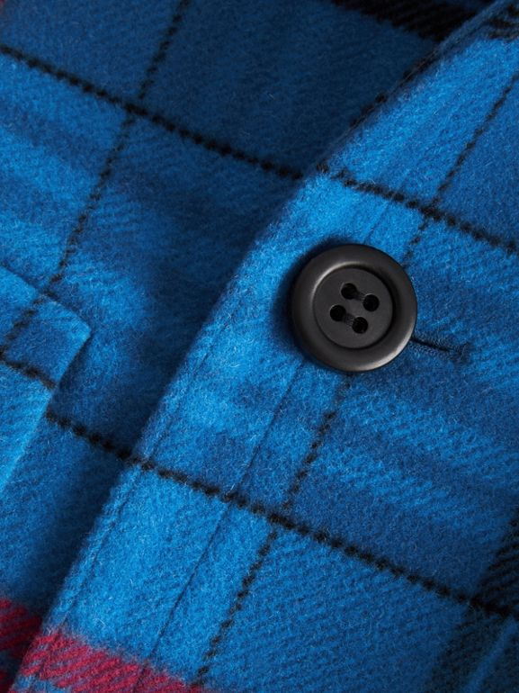 Check Wool Tailored Coat in Mineral Blue | Burberry United Kingdom - cell image 1