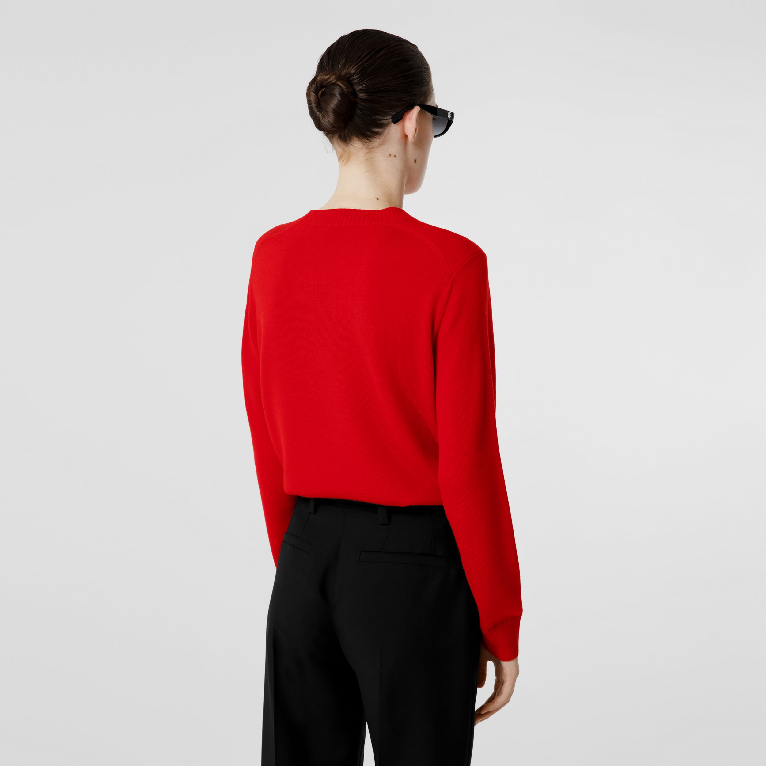 Rigging Intarsia Merino Wool Sweater in Bright Red - Women | Burberry Canada - 3