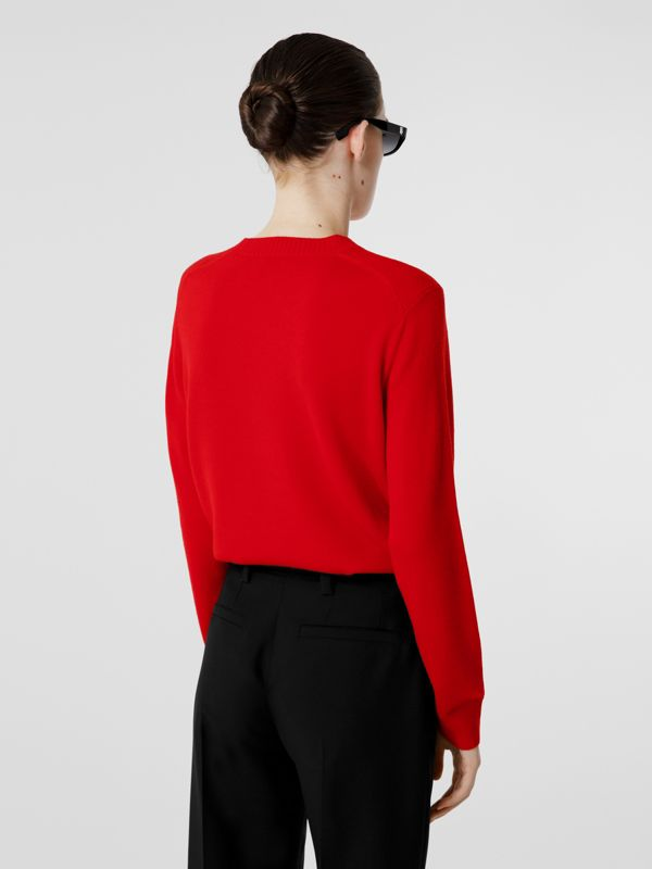 Rigging Intarsia Merino Wool Sweater in Bright Red - Women | Burberry United Kingdom - cell image 2