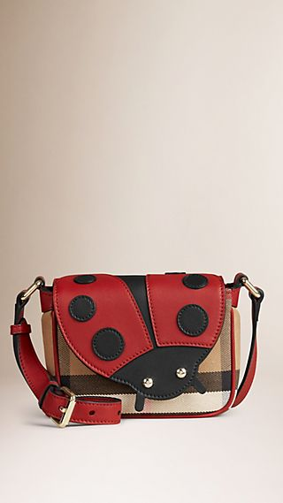 Ladybird Canvas Check and Leather Crossbody Bag