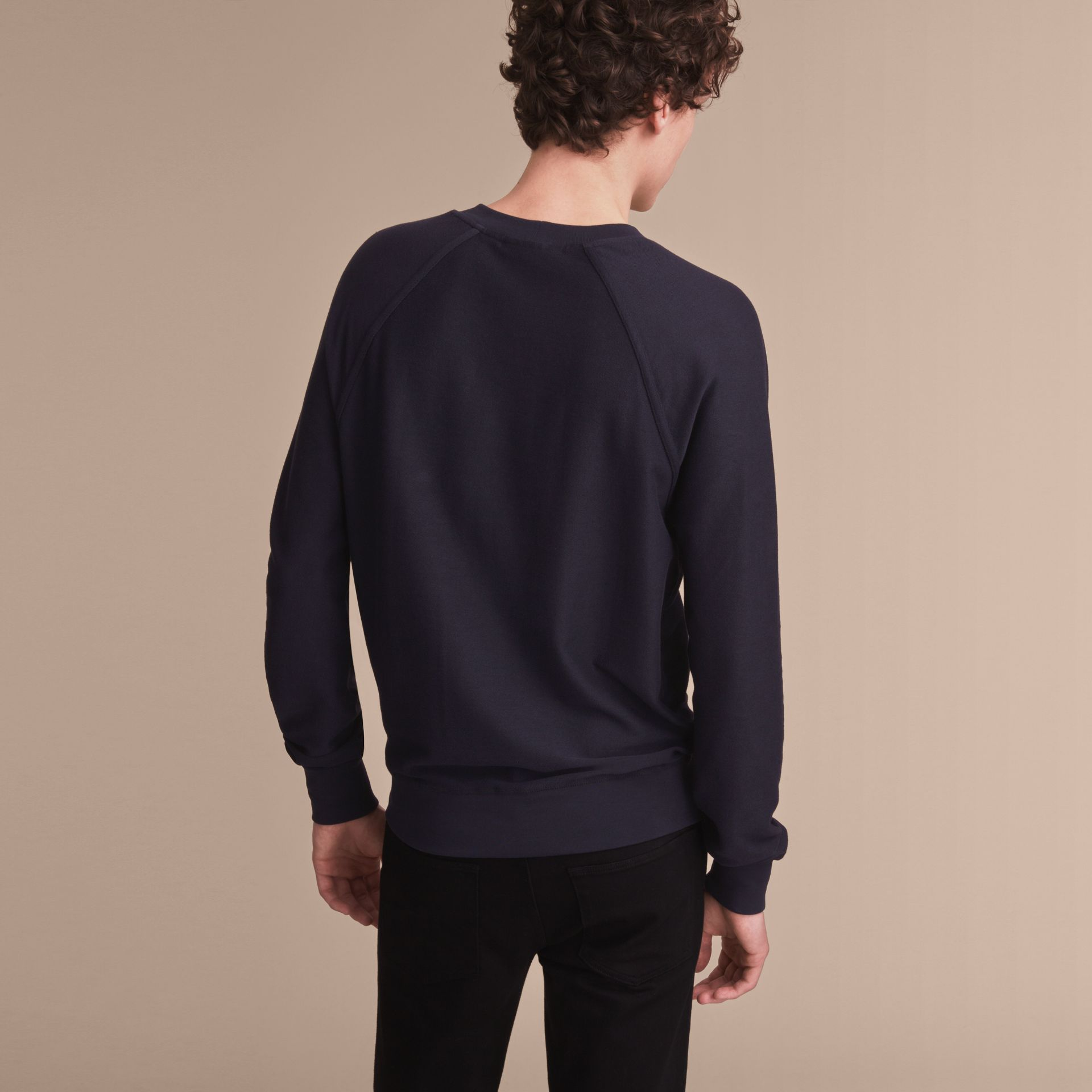 Embroidered Motif Cotton-blend Jersey Sweatshirt in Navy - Men | Burberry Australia - gallery image 3