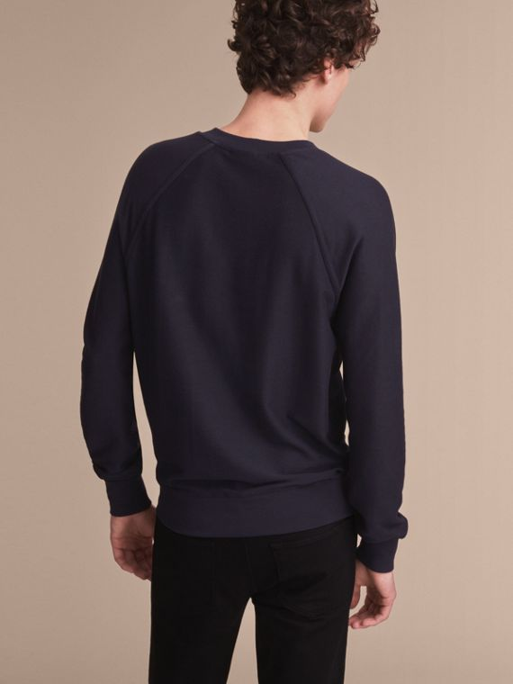Embroidered Motif Cotton-blend Jersey Sweatshirt in Navy - Men | Burberry Australia - cell image 2