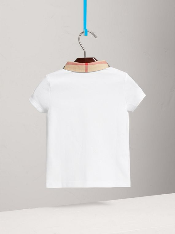 Check Collar Polo Shirt in White - Girl | Burberry - cell image 3