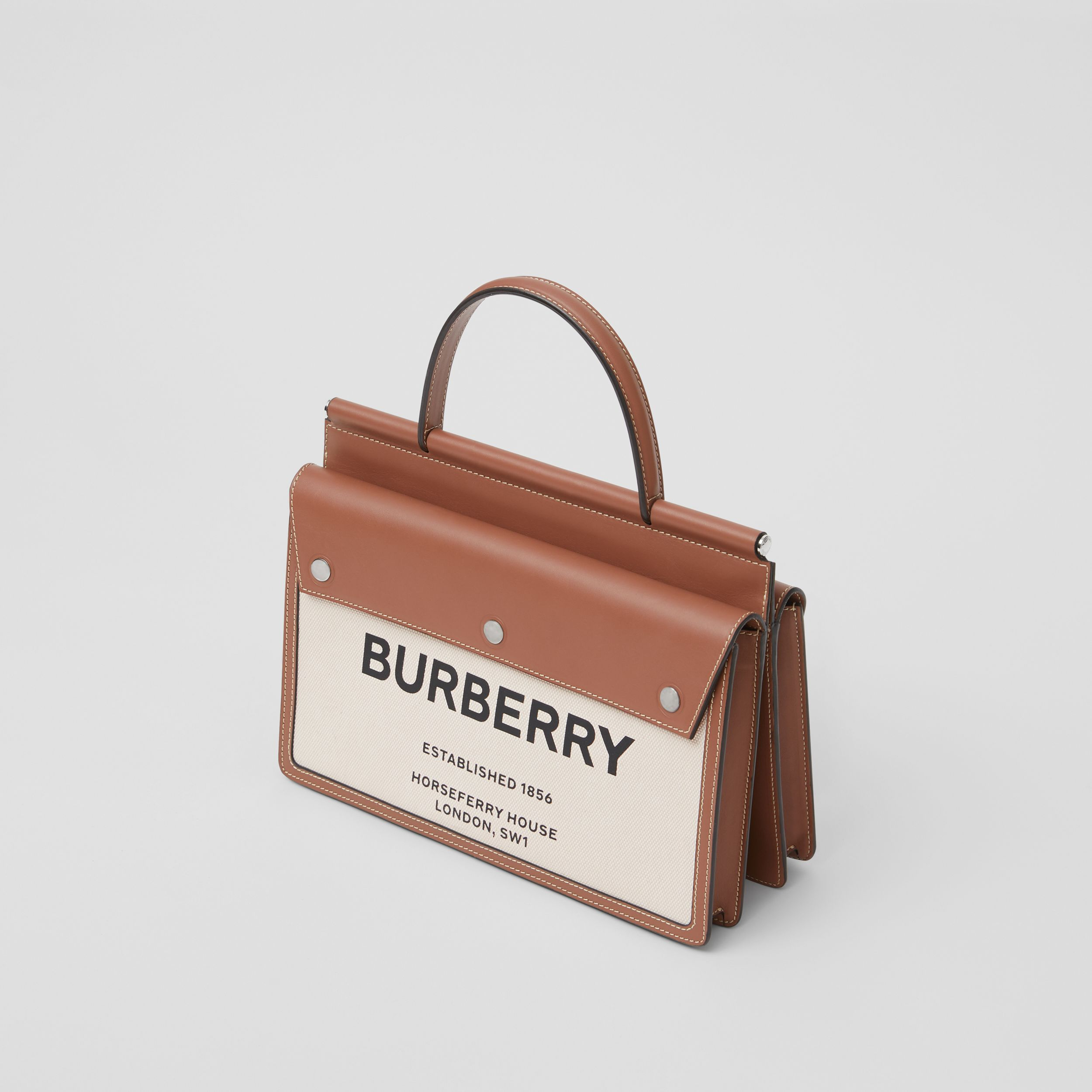Small Horseferry Print Title Bag with Pocket Detail in Natural/malt Brown - Women | Burberry Australia - 4