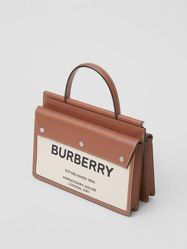 Small Horseferry Print Title Bag with Pocket Detail in Natural/malt Brown - Women | Burberry - cell image 3