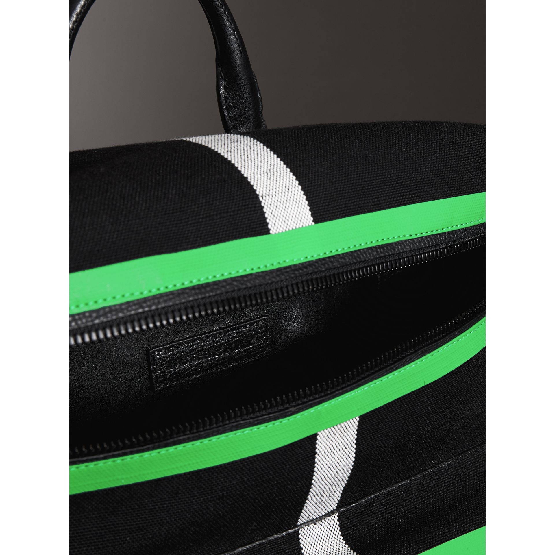 Zip-top Leather Trim Canvas Check Backpack in Racing Green/black - Men | Burberry Canada - gallery image 5
