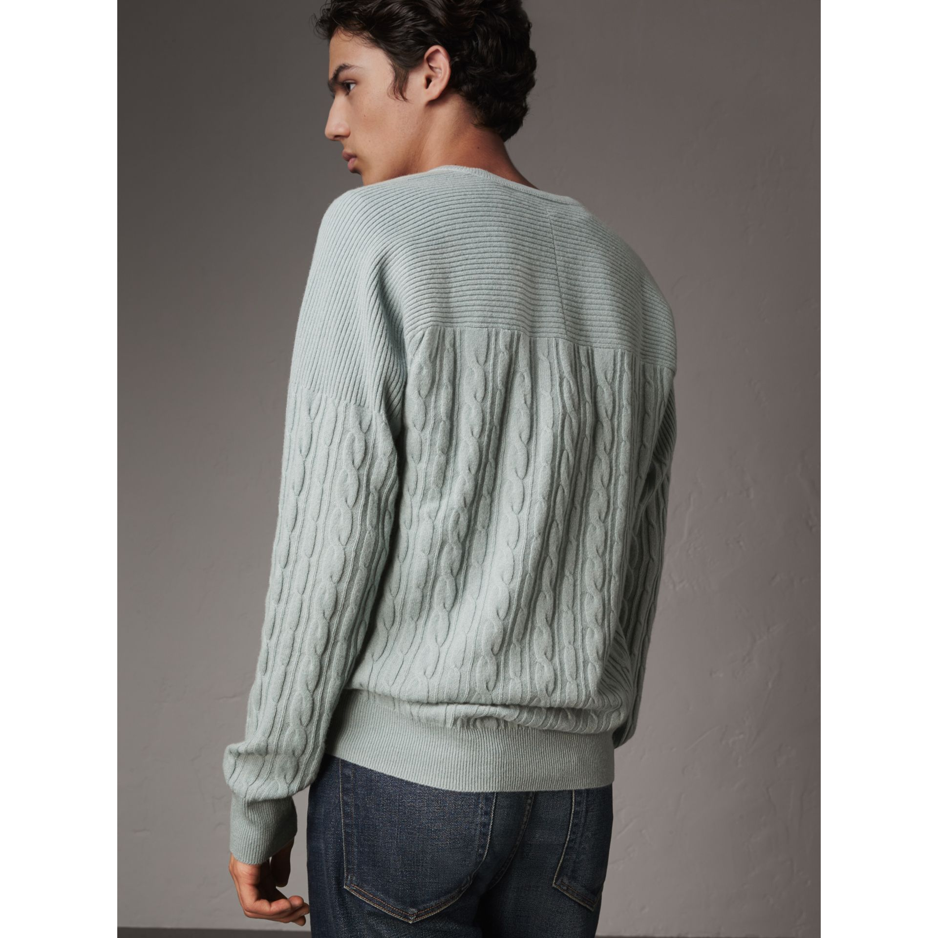 Cable and Rib Knit Cashmere V-neck Sweater in Powder Blue - Men | Burberry - gallery image 3