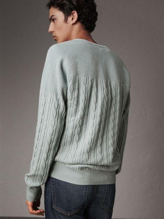 Cable and Rib Knit Cashmere V-neck Sweater in Powder Blue - Men | Burberry - cell image 2
