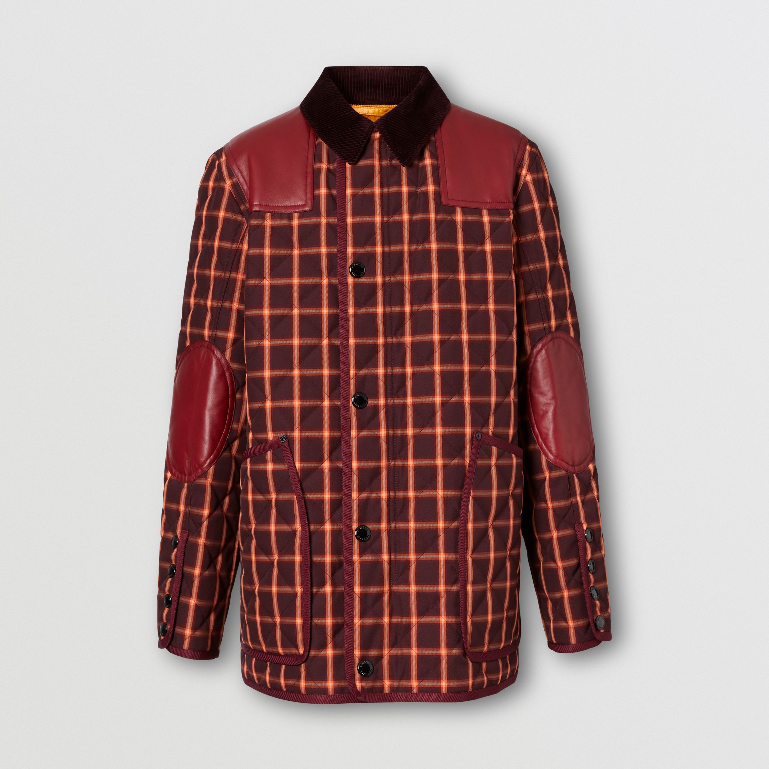 Lambskin Trim Check Technical Cotton Barn Jacket in Burgundy - Men | Burberry - 4