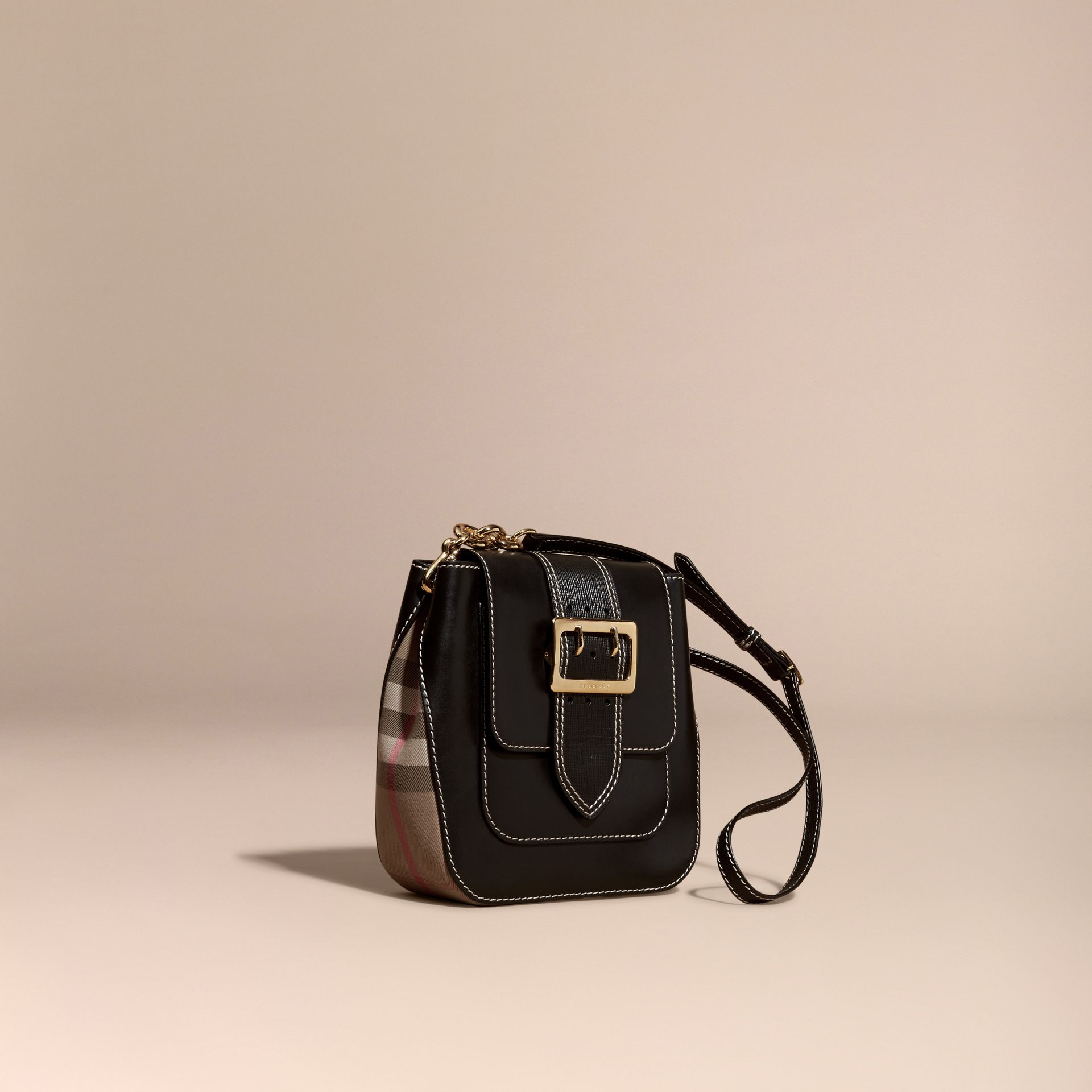 Black The Medium Buckle Bag – Square in Leather and House Check - gallery image 1