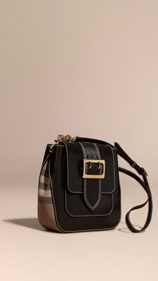 Sac The Buckle medium carré en cuir et coton House check