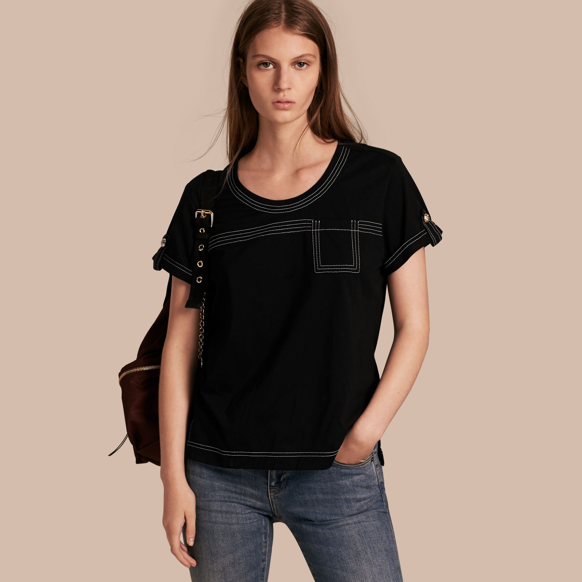 Black Topstitch Detail Cotton T-shirt Black - gallery image 1