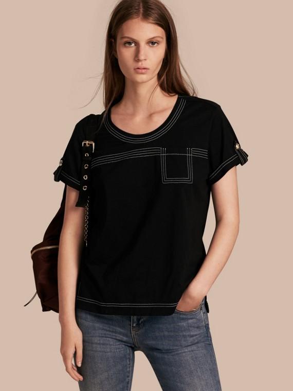 Topstitch Detail Cotton T-shirt Black