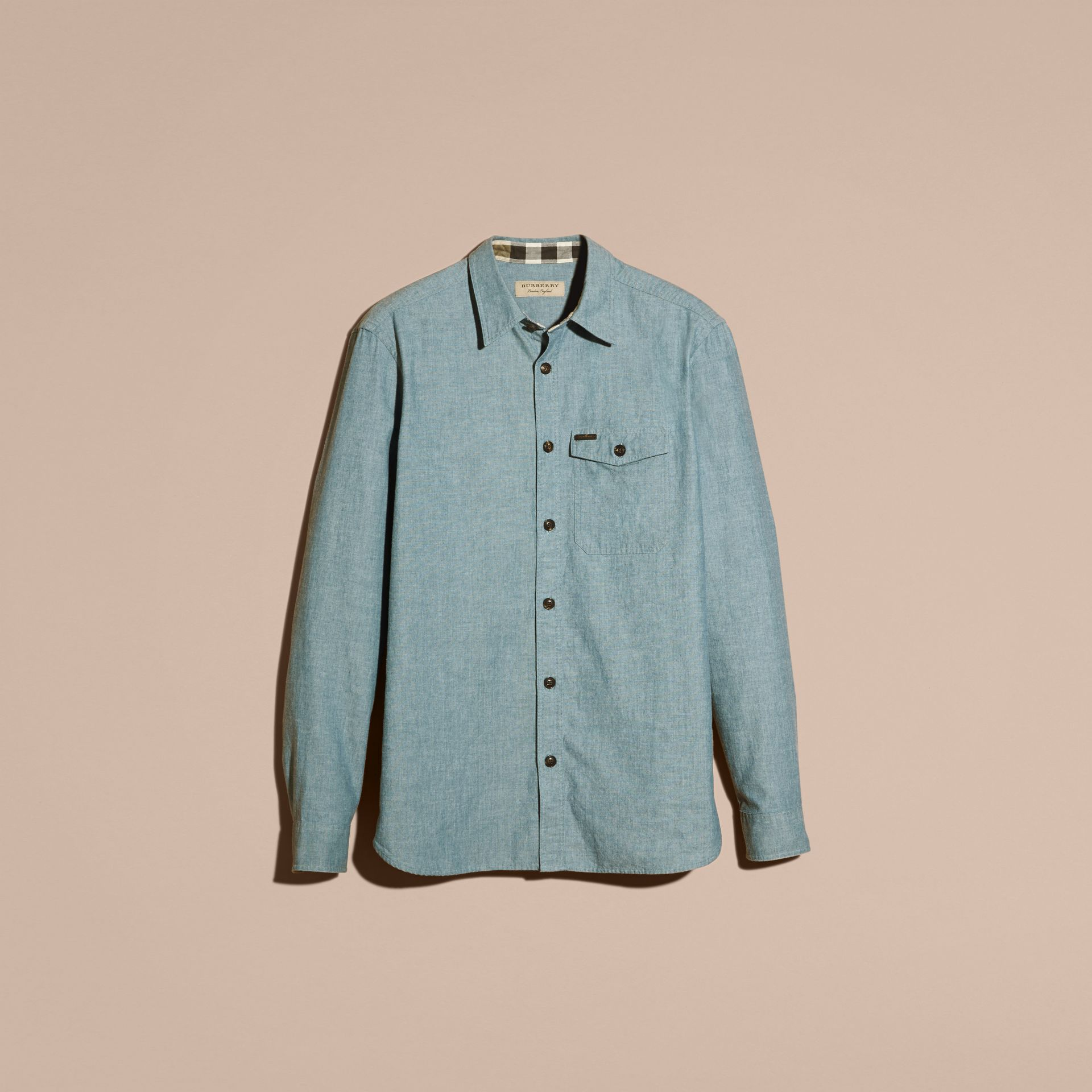 Mineral blue Chambray Cotton Shirt - gallery image 4