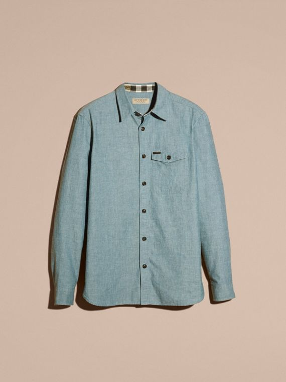 Mineral blue Chambray Cotton Shirt - cell image 3