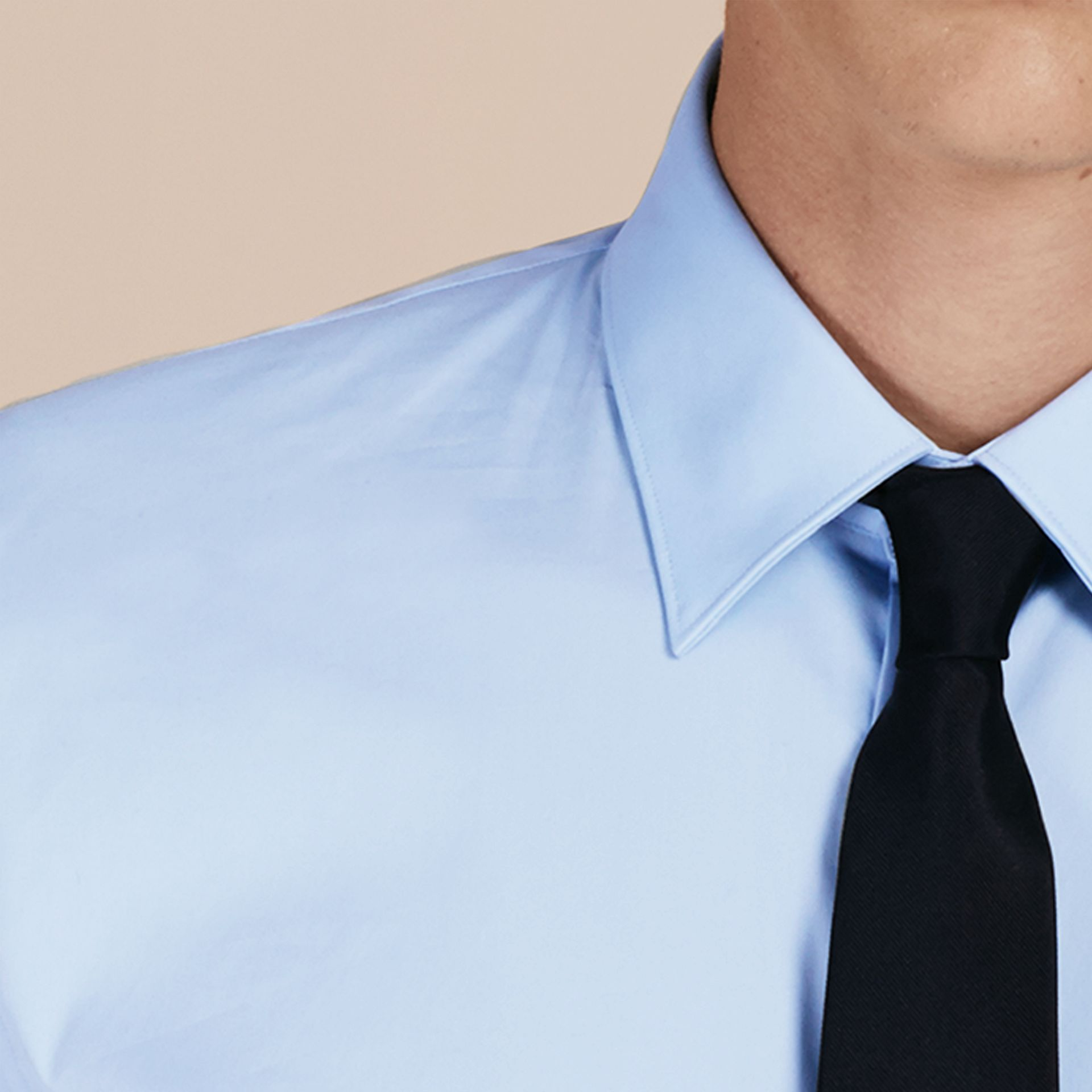 Slim Fit Stretch Cotton Shirt in City Blue - gallery image 2