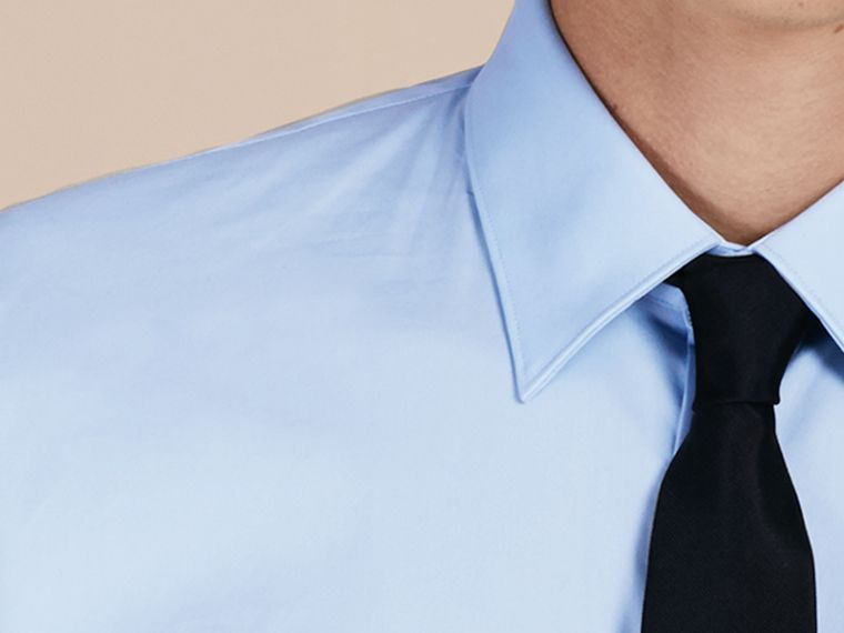 Slim Fit Stretch Cotton Shirt in City Blue - Men | Burberry Hong Kong - cell image 1