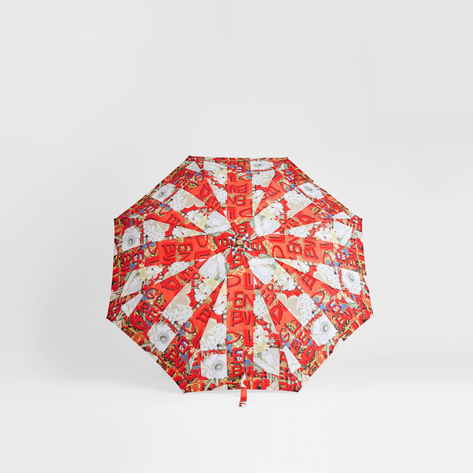 Graffiti Archive Scarf Print Folding Umbrella in Multicolour | Burberry - gallery image 2