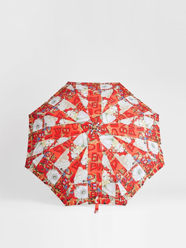 Graffiti Archive Scarf Print Folding Umbrella in Multicolour | Burberry United States - cell image 2